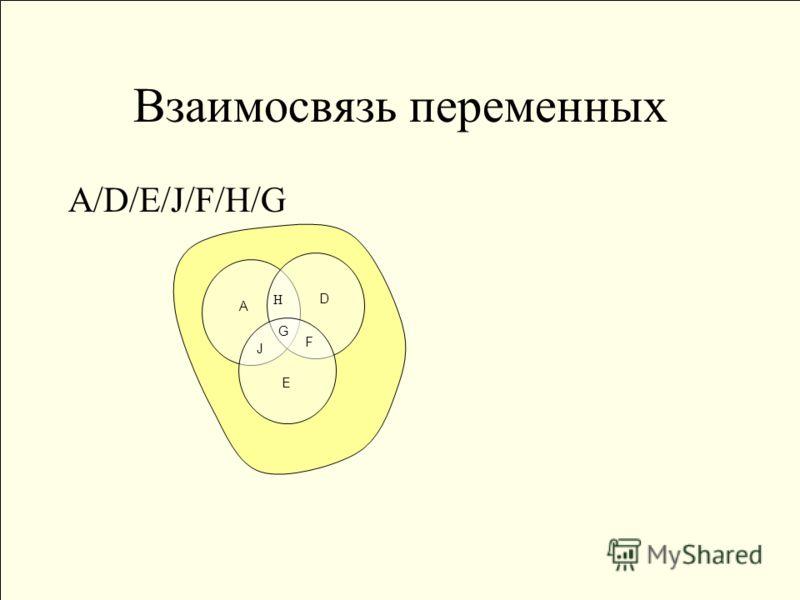 Взаимосвязь переменных А/D/E/J/F/H/G А Е J F D G H