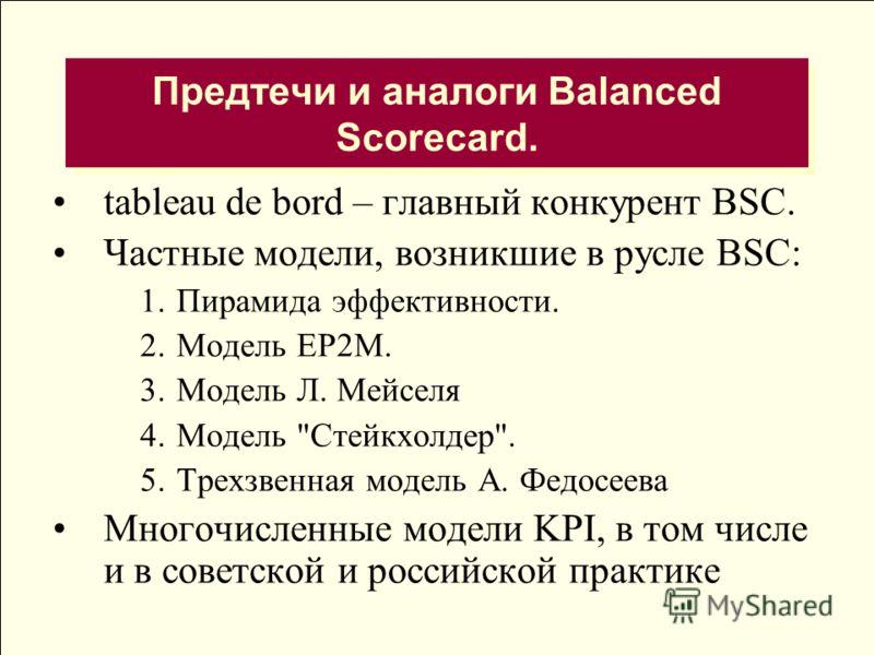 Предтечи и аналоги Balanced Scorecard. tableau de bord – главный конкурент BSC. Частные модели, возникшие в русле BSC: 1.Пирамида эффективности. 2.Модель ЕР2М. 3.Модель Л. Мейселя 4.Модель