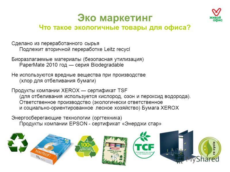Эко маркетинг Что такое экологичные товары для офиса? Сделано из переработанного сырья Подлежит вторичной переработке Leitz recycl Биоразлагаемые материалы (безопасная утилизация) PaperMate 2010 год серия Biodegradable Не используются вредные веществ
