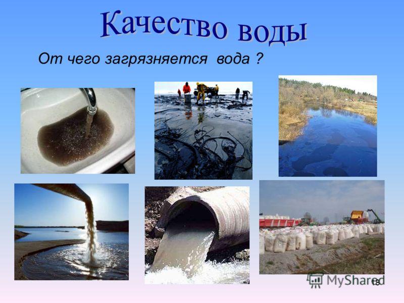 18 От чего загрязняется вода ?
