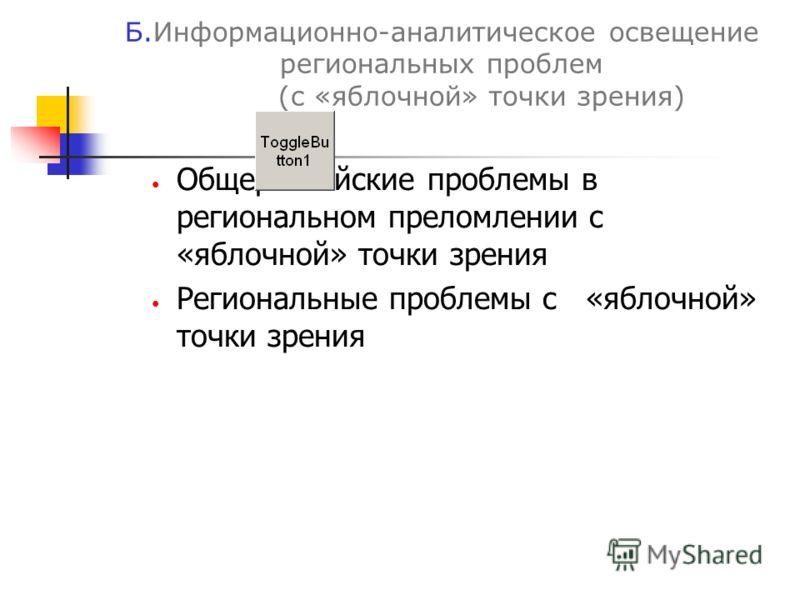 Б.Информационно-аналитическое освещение региональных проблем (с «яблочной» точки зрения) Общероссийские проблемы в региональном преломлении с «яблочной» точки зрения Региональные проблемы с «яблочной» точки зрения