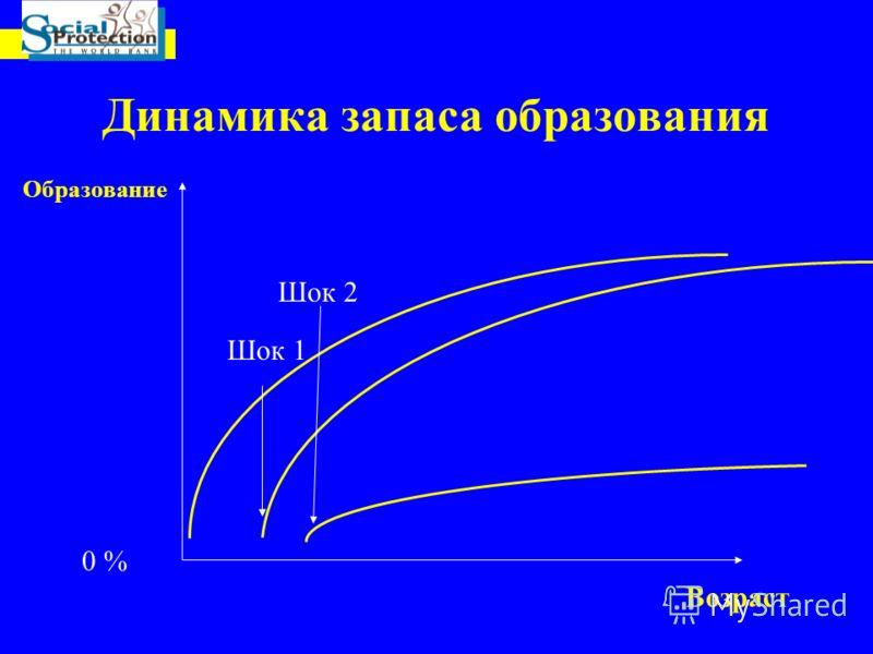 Динамика запаса образования Возраст 0 % Шок 2 Шок 1 Образование