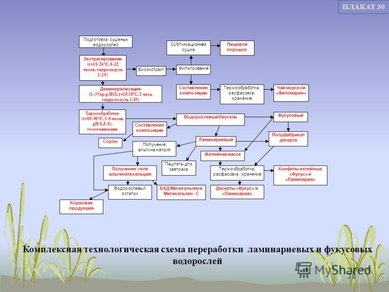 30 ПЛАКАТ 30 Комплексная технологическая схема переработки ламинариевых и фукусовых водорослей Подготовка сушеных водорослей Экстрагирование (t=18-24°С, 6-12 часов, гидромодуль 1:10) Деминерализация ( 1-3%р-р HCl, t=25-35ºС, 2 часа, гидромодуль 1:10)