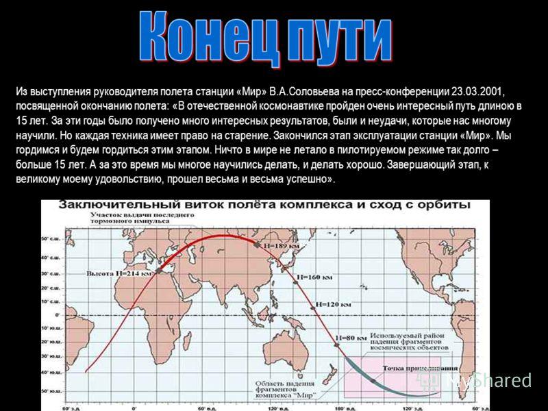 Из выступления руководителя полета станции «Мир» В.А.Соловьева на пресс-конференции 23.03.2001, посвященной окончанию полета: «В отечественной космонавтике пройден очень интересный путь длиною в 15 лет. За эти годы было получено много интересных резу