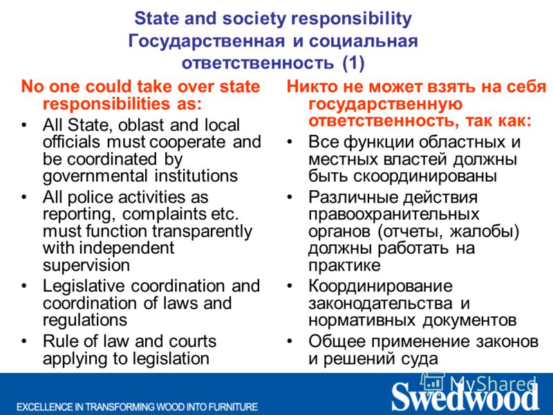 State and society responsibility Государственная и социальная ответственность (1) No one could take over state responsibilities as: All State, oblast and local officials must cooperate and be coordinated by governmental institutions All police activi