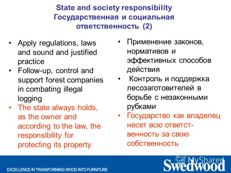 State and society responsibility Государственная и социальная ответственность (2) Apply regulations, laws and sound and justified practice Follow-up, control and support forest companies in combating illegal logging The state always holds, as the own