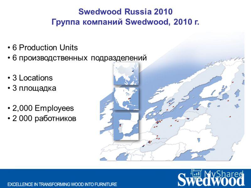 Swedwood Russia 2010 Группа компаний Swedwood, 2010 г. 6 Production Units 6 производственных подразделений 3 Locations 3 площадка 2,000 Employees 2 000 работников