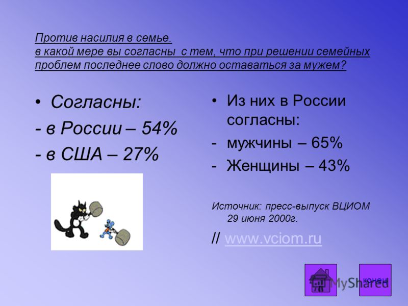 Против насилия в семье. в какой мере вы согласны с тем, что при решении семейных проблем последнее слово должно оставаться за мужем? Согласны: - в России – 54% - в США – 27% Из них в России согласны: -мужчины – 65% -Женщины – 43% Источник: пресс-выпу