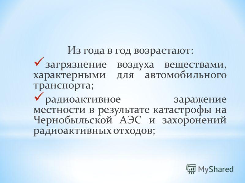 Из года в год возрастают: загрязнение воздуха веществами, характерными для автомобильного транспорта; радиоактивное заражение местности в результате катастрофы на Чернобыльской АЭС и захоронений радиоактивных отходов;
