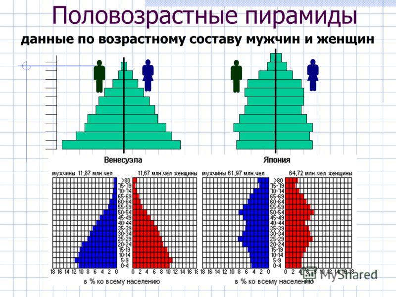 Половозрастные пирамиды данные по возрастному составу мужчин и женщин