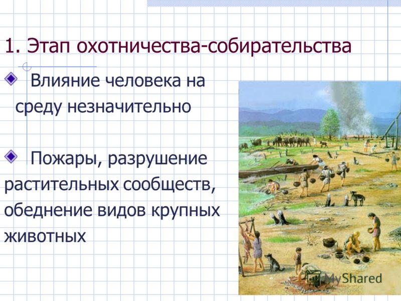 1. Этап охотничества-собирательства Влияние человека на среду незначительно Пожары, разрушение растительных сообществ, обеднение видов крупных животных