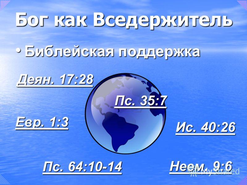 Бог как Вседержитель Библейская поддержка Библейская поддержка Деян. 17:28 Деян. 17:28 Евр. 1:3 Евр. 1:3 Неем. 9:6 Неем. 9:6 Ис. 40:26 Ис. 40:26 Пс. 64:10-14 Пс. 64:10-14 Пс. 35:7 Пс. 35:7
