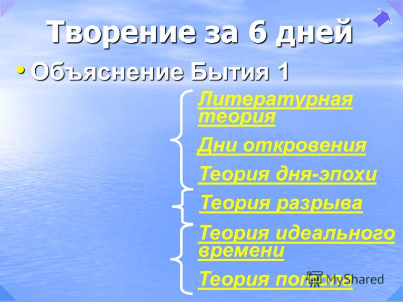 Теория идеального времени Теория потопа Литературная теория Дни откровения Теория дня-эпохи Объяснение Бытия 1 Объяснение Бытия 1 Теория разрыва Творение за 6 дней