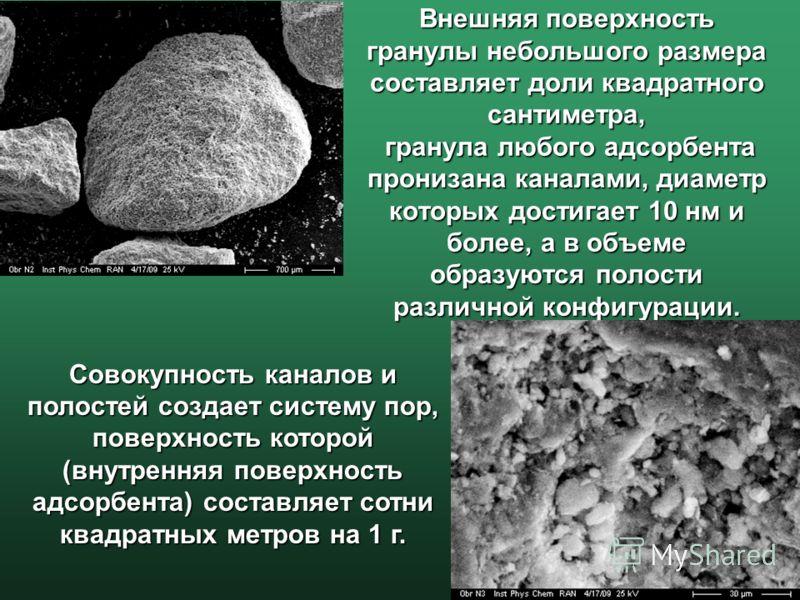 Внешняя поверхность гранулы небольшого размера составляет доли квадратного сантиметра, гранула любого адсорбента пронизана каналами, диаметр которых достигает 10 нм и более, а в объеме образуются полости различной конфигурации. Совокупность каналов и