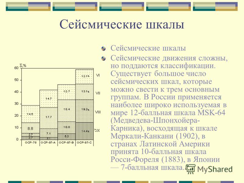 Сейсмические шкалы Сейсмические движения сложны, но поддаются классификации. Существует большое число сейсмических шкал, которые можно свести к трем основным группам. В России применяется наиболее широко используемая в мире 12-балльная шкала МSK-64 (