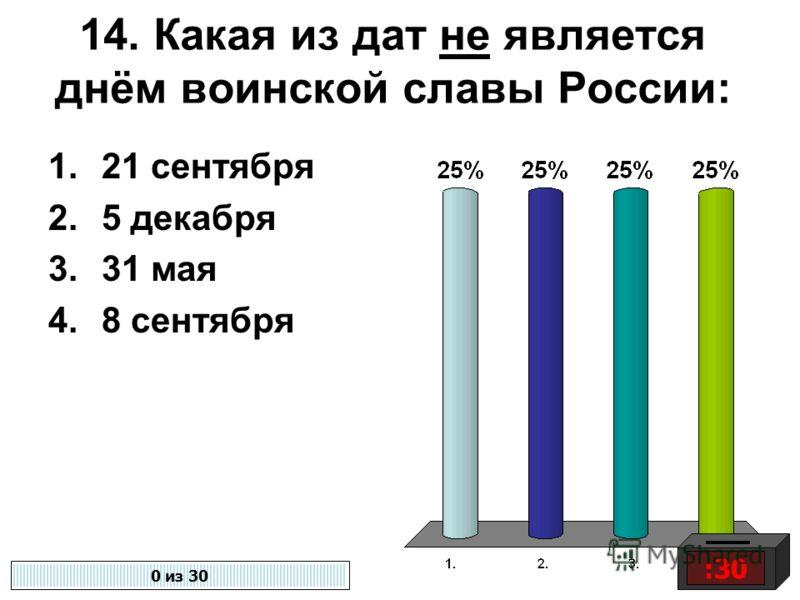 14. Какая из дат не является днём воинской славы России: 1.21 сентября 2.5 декабря 3.31 мая 4.8 сентября :30 0 из 30