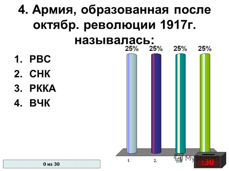 4. Армия, образованная после октябр. революции 1917г. называлась: 1.РВС 2.СНК 3.РККА 4.ВЧК :30 0 из 30
