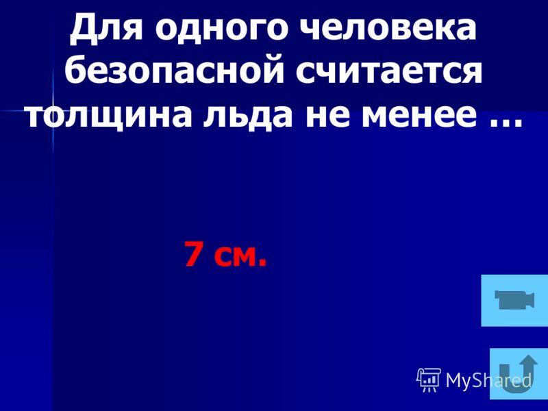 Для одного человека безопасной считается толщина льда не менее … 7 см.