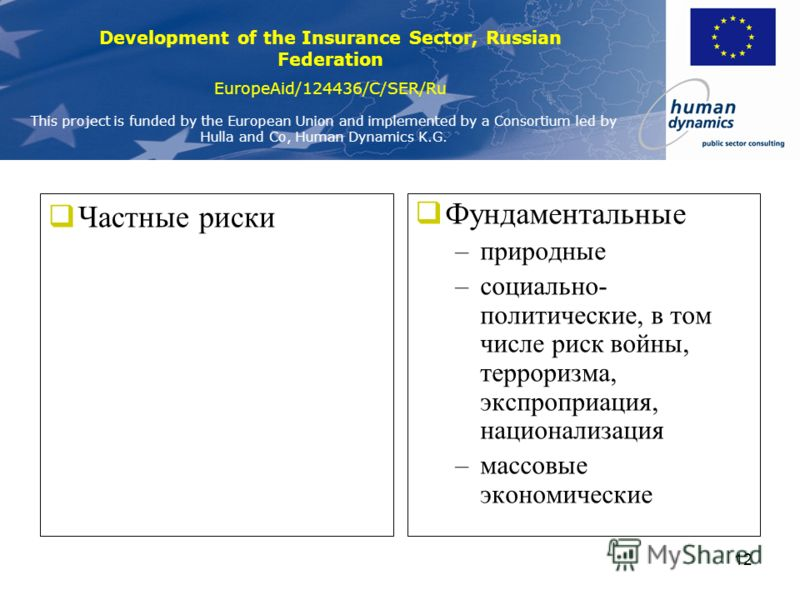 Development of the Insurance Sector, Russian Federation EuropeAid/124436/C/SER/Ru This project is funded by the European Union and implemented by a Consortium led by Hulla and Co, Human Dynamics K.G. 11 Чистые рискиСпекулятивные + + - -