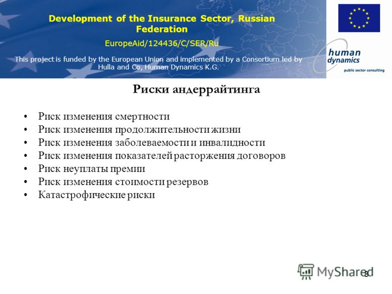 Development of the Insurance Sector, Russian Federation EuropeAid/124436/C/SER/Ru This project is funded by the European Union and implemented by a Consortium led by Hulla and Co, Human Dynamics K.G. 7 Рыночные риски Риск изменения стоимости товаров