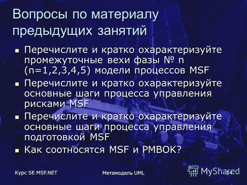 Курс SE MSF.NET Метамодель UML 14 Вопросы по материалу предыдущих занятий Перечислите и кратко охарактеризуйте промежуточные вехи фазы n (n=1,2,3,4,5) модели процессов MSF Перечислите и кратко охарактеризуйте промежуточные вехи фазы n (n=1,2,3,4,5) м