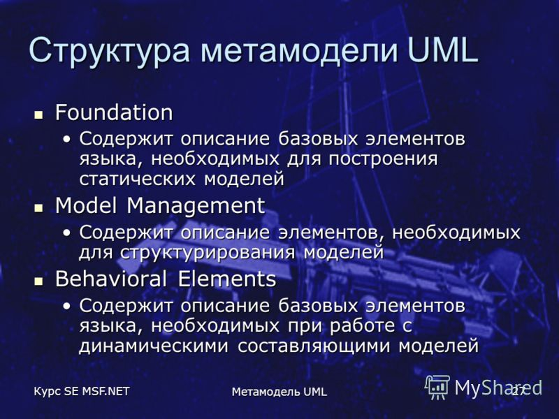 Курс SE MSF.NET Метамодель UML 27 Структура метамодели UML Foundation Foundation Содержит описание базовых элементов языка, необходимых для построения статических моделейСодержит описание базовых элементов языка, необходимых для построения статически