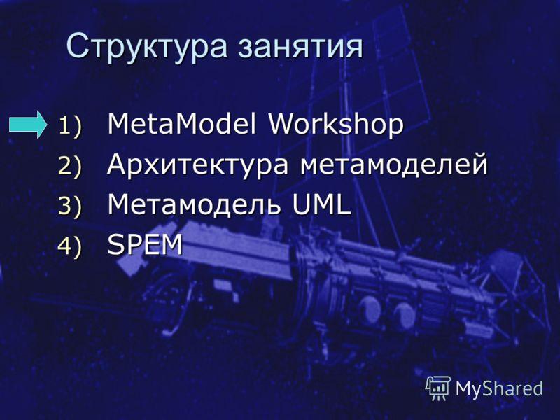 Структура занятия 1) MetaModel Workshop 2) Архитектура метамоделей 3) Метамодель UML 4) SPEM