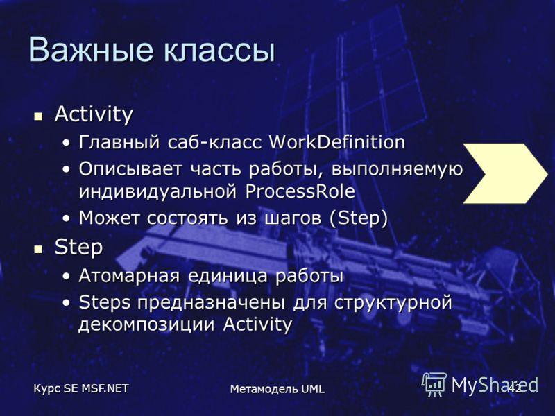 Курс SE MSF.NET Метамодель UML 42 Важные классы Activity Activity Главный саб-класс WorkDefinitionГлавный саб-класс WorkDefinition Описывает часть работы, выполняемую индивидуальной ProcessRoleОписывает часть работы, выполняемую индивидуальной Proces