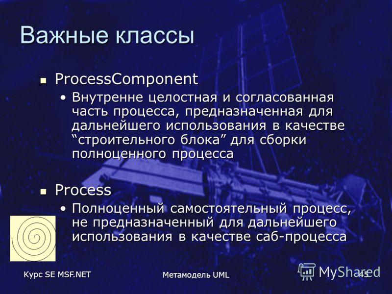 Курс SE MSF.NET Метамодель UML 45 Важные классы ProcessComponent ProcessComponent Внутренне целостная и согласованная часть процесса, предназначенная для дальнейшего использования в качествестроительного блока для сборки полноценного процессаВнутренн