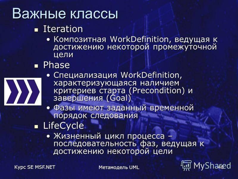 Курс SE MSF.NET Метамодель UML 48 Важные классы Iteration Iteration Композитная WorkDefinition, ведущая к достижению некоторой промежуточной целиКомпозитная WorkDefinition, ведущая к достижению некоторой промежуточной цели Phase Phase Специализация W