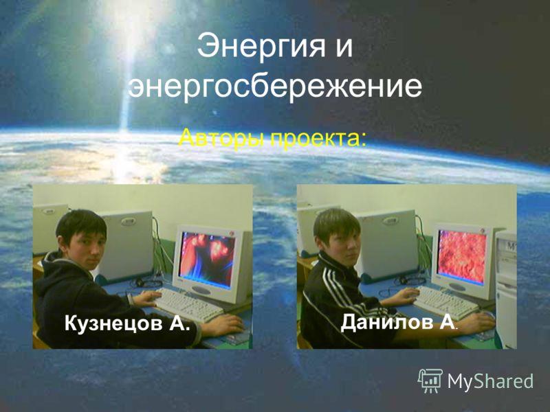 Энергия и энергосбережение Авторы проекта: Кузнецов А. Данилов А.