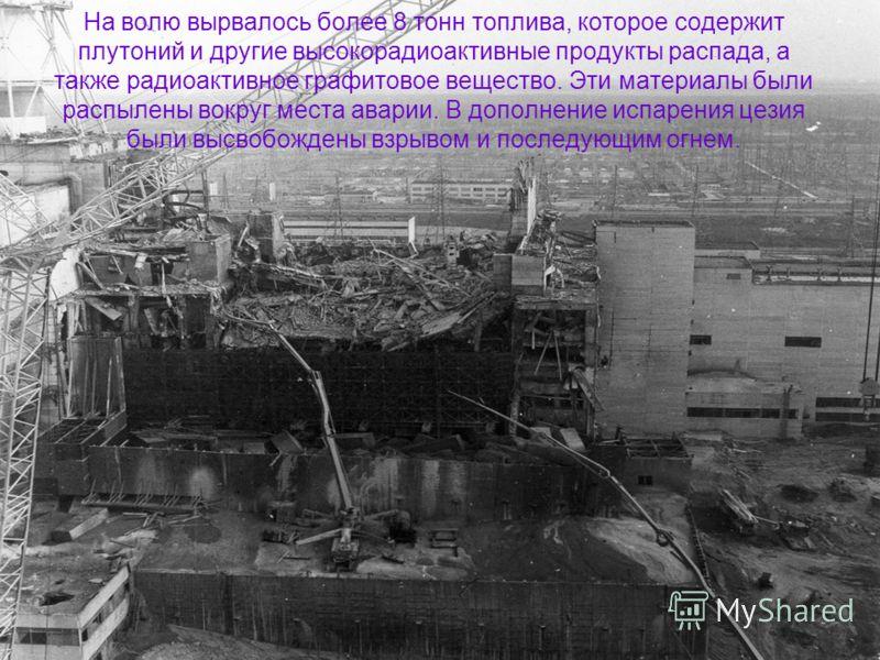 На волю вырвалось более 8 тонн топлива, которое содержит плутоний и другие высокорадиоактивные продукты распада, а также радиоактивное графитовое вещество. Эти материалы были распылены вокруг места аварии. В дополнение испарения цезия были высвобожде