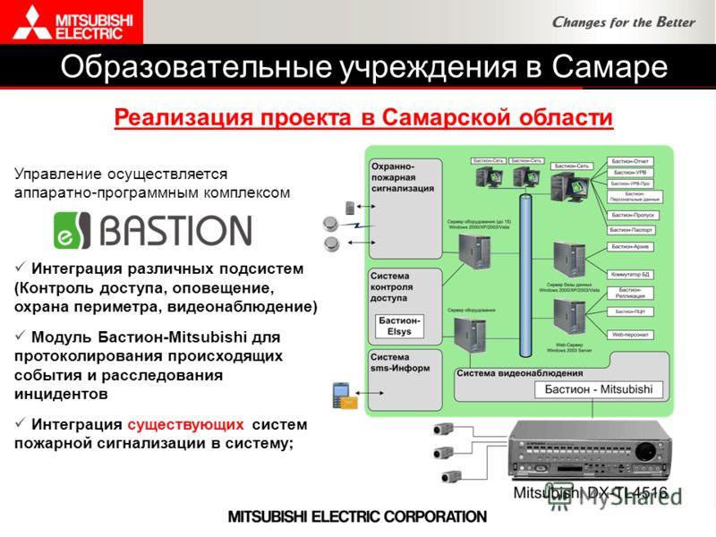 Управление осуществляется аппаратно-программным комплексом Интеграция различных подсистем (Контроль доступа, оповещение, охрана периметра, видеонаблюдение) Модуль Бастион-Mitsubishi для протоколирования происходящих события и расследования инцидентов