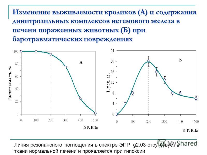 Изменение выживаемости кроликов (А) и содержания динитрозильных комплексов негемового железа в печени пораженных животных (Б) при баротравматических п