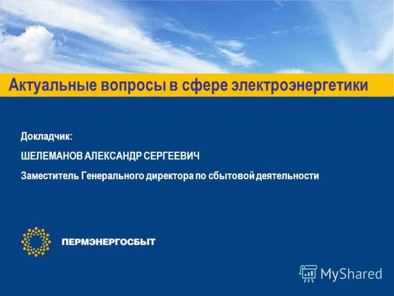 Актуальные вопросы в сфере электроэнергетики Докладчик: ШЕЛЕМАНОВ АЛЕКСАНДР СЕРГЕЕВИЧ Заместитель Генерального директора по сбытовой деятельности