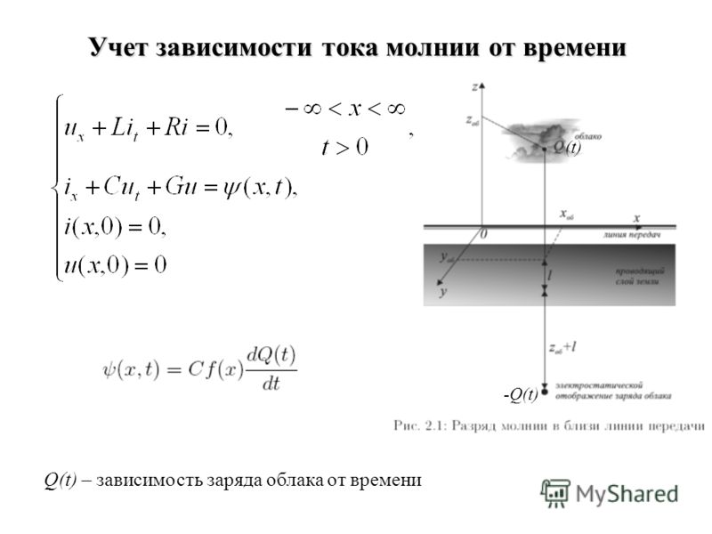 Учет зависимости тока молнии от времени (t) Q(t) – зависимость заряда облака от времени -Q(t)
