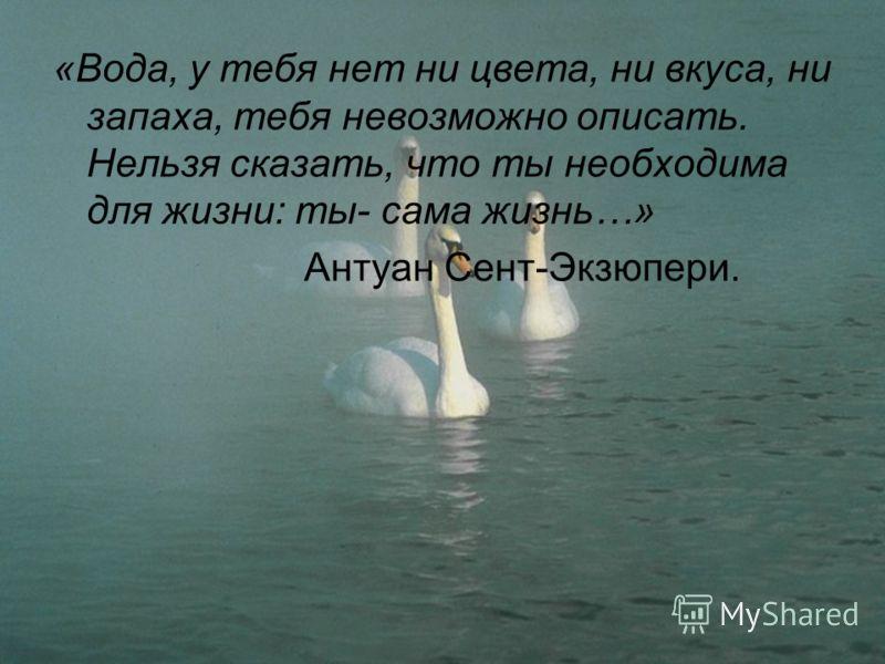 «Вода, у тебя нет ни цвета, ни вкуса, ни запаха, тебя невозможно описать. Нельзя сказать, что ты необходима для жизни: ты- сама жизнь…» Антуан Сент-Экзюпери.