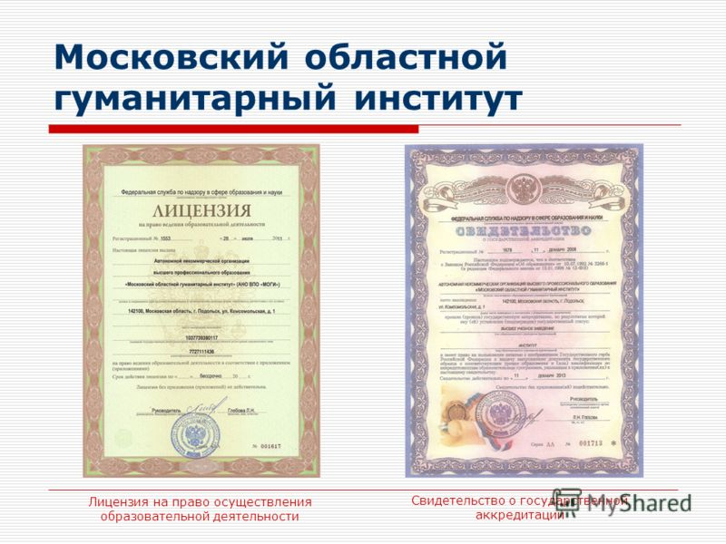 Московский областной гуманитарный институт Лицензия на право осуществления образовательной деятельности Свидетельство о государственной аккредитации