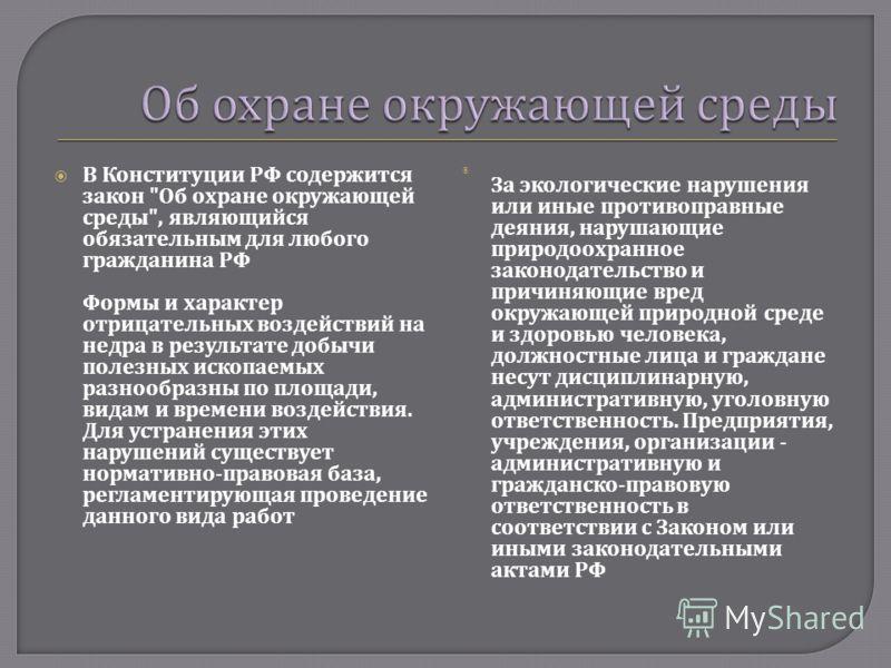 В Конституции РФ содержится закон