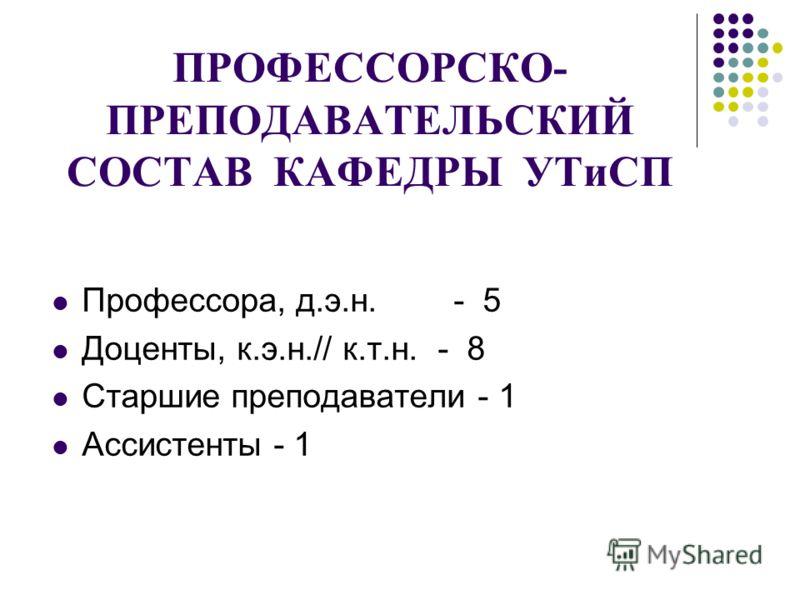ПРОФЕССОРСКО- ПРЕПОДАВАТЕЛЬСКИЙ СОСТАВ КАФЕДРЫ УТиСП Профессора, д.э.н. - 5 Доценты, к.э.н.// к.т.н. - 8 Старшие преподаватели - 1 Ассистенты - 1