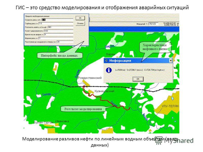 Моделирование разливов нефти по линейным водным объектам (ввод данных) ГИС – это средство моделирования и отображения аварийных ситуаций