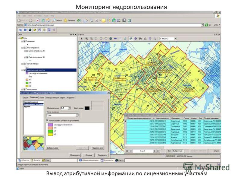 Мониторинг недропользования Вывод атрибутивной информации по лицензионным участкам
