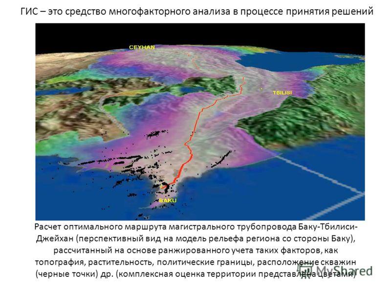 ГИС – это средство многофакторного анализа в процессе принятия решений Расчет оптимального маршрута магистрального трубопровода Баку-Тбилиси- Джейхан (перспективный вид на модель рельефа региона со стороны Баку), рассчитанный на основе ранжированного