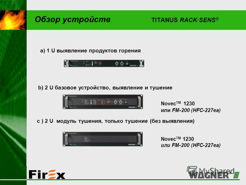 Обзор устройств TITANUS RACK·SENS ® Novec TM 1230 или FM-200 (HFC-227ea) c ) 2 U модуль тушения, только тушение (без выявления) b) 2 U базовое устройство, выявление и тушение a) 1 U выявление продуктов горения Novec TM 1230 или FM-200 (HFC-227ea)
