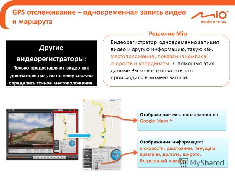 GPS отслеживание – одновременная запись видео и маршрута Отображение местоположения на Google Maps Отображение информации: о скорости, расстоянии, текущем времени, долготе, широте. Встроенный компас. Отображение информации: о скорости, расстоянии, те