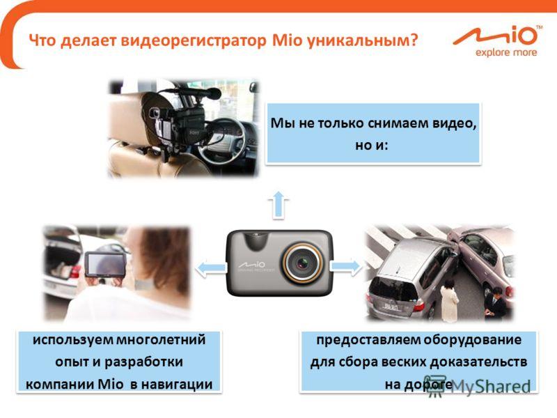 Мы не только снимаем видео, но и: используем многолетний опыт и разработки компании Mio в навигации предоставляем оборудование для сбора веских доказательств на дороге Что делает видеорегистратор Mio уникальным?