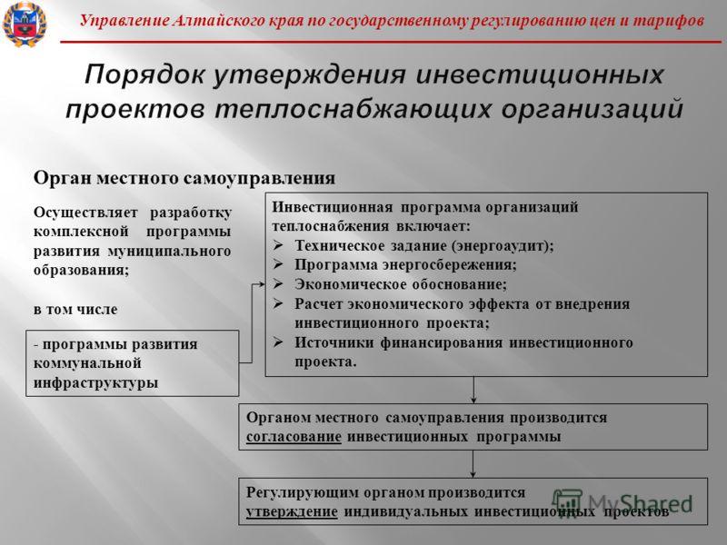 Управление Алтайского края по государственному регулированию цен и тарифов Осуществляет разработку комплексной программы развития муниципального образования ; в том числе - программы развития коммунальной инфраструктуры Инвестиционная программа орган