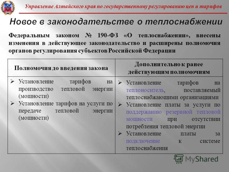Управление Алтайского края по государственному регулированию цен и тарифов Полномочия до введения закона Дополнительно к ранее действующим полномочиям Установление тарифов на производство тепловой энергии ( мощности ) Установление тарифов на услуги п