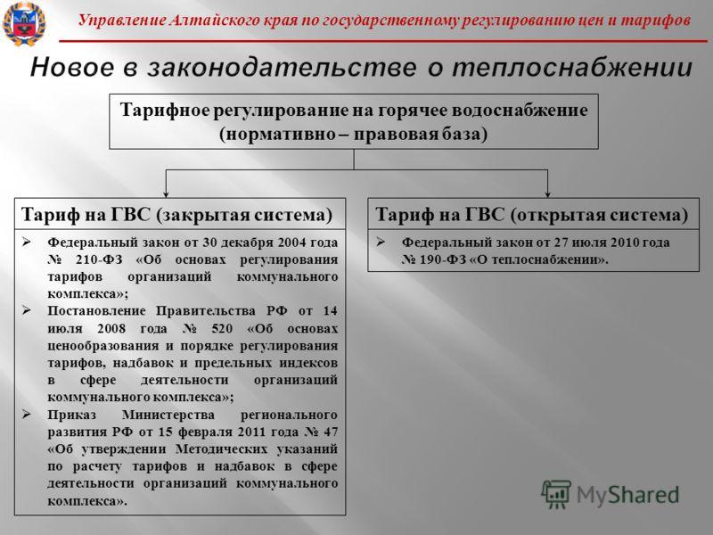 Управление Алтайского края по государственному регулированию цен и тарифов Тарифное регулирование на горячее водоснабжение ( нормативно – правовая база ) Тариф на ГВС ( закрытая система ) Федеральный закон от 30 декабря 2004 года 210- ФЗ « Об основах