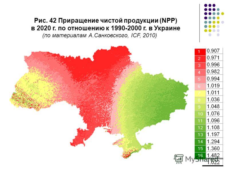 Рис. 42 Приращение чистой продукции (NPP) в 2020 г. по отношению к 1990-2000 г. в Украине (по материалам А.Санковского, ICF, 2010)